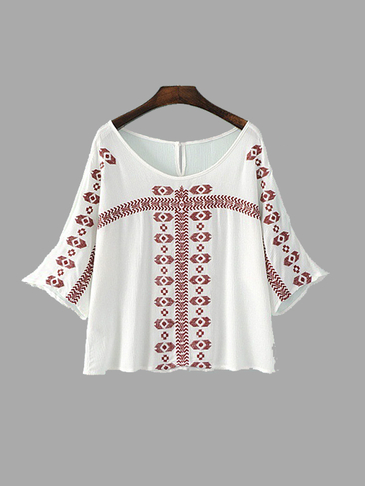 Embroidered Cold Shoulder Blouse in White