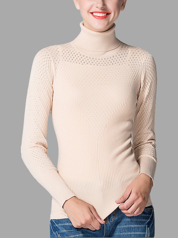 Apricot Hollow Out High Neck Jumper