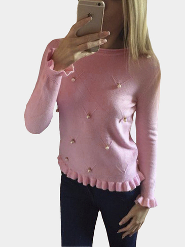 Pink Round Neck Beaded Detail Fahsion Jumper
