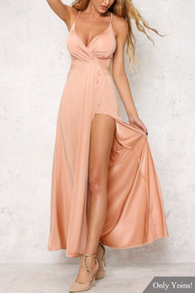 Strappy Back Deep Side Slit Backless Cami Maxi Dress