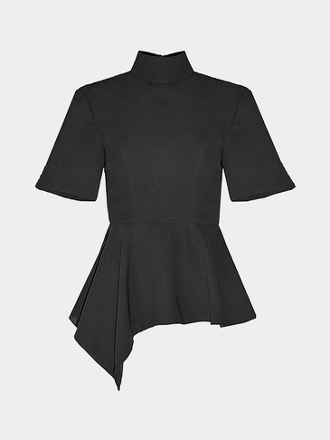 Black High Neck Peplum Top