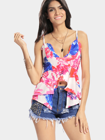 Sexy Deep V Flower Print Splited Hem Cami