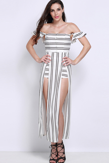 Off Shoulder Stripe Playsuit with Maxi Overlay