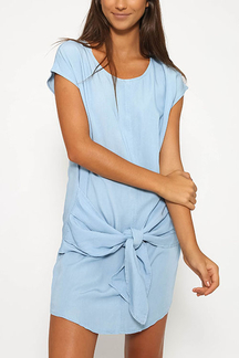 Light Blue Simple Round Neck Mini Dress