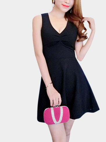 Black Sexy V-neck Sleeveless Crossed Back Dress