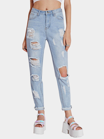Sexy Ripped Tassel Jeans with High Waist Design