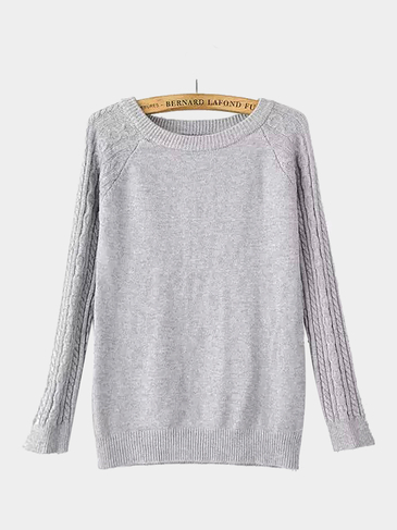 Cable Knit Long Sleeve Sweater in Gray
