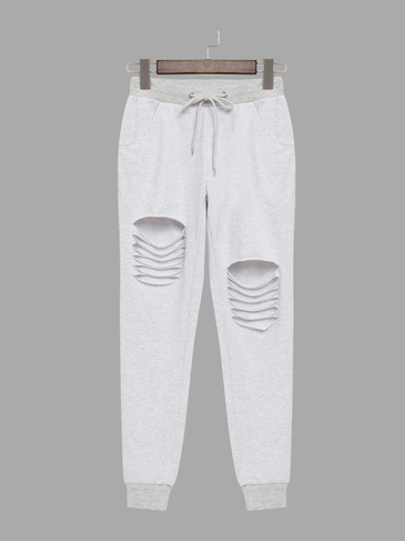 Grey Two Side Pockets Drawstring Waist Sport Trousers