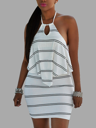 Stripe Pattern  Backless Helater Mini dress in Layered Details