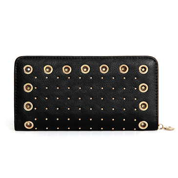 Eyelet Studded Leather-look Long Purse in Black