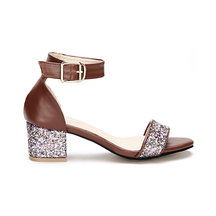 Brown Glitter Embellished Block Heel Adjustable Ankle Strap Sandals