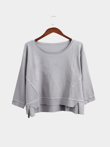 Grey Loose Fit Bat-wing Sleeves Irregular Hem Sweatshirt