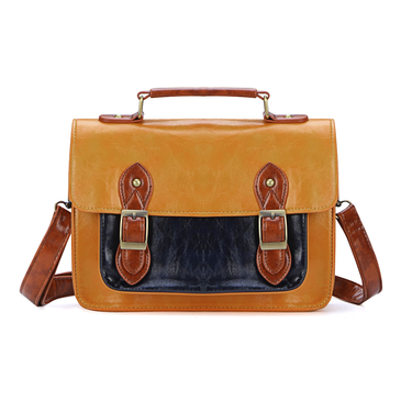Yellow Vintage Style Cambridge Bag with Big Front Pocket