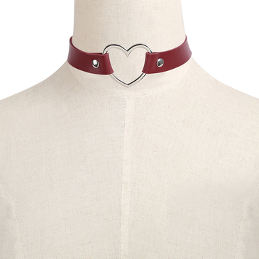 Red Vintage PU Leather Love Heart Choker Necklace Goth Collar Chain H for Women