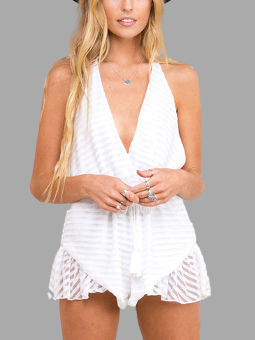 White V-neck Sleeveless Backless Playsuit