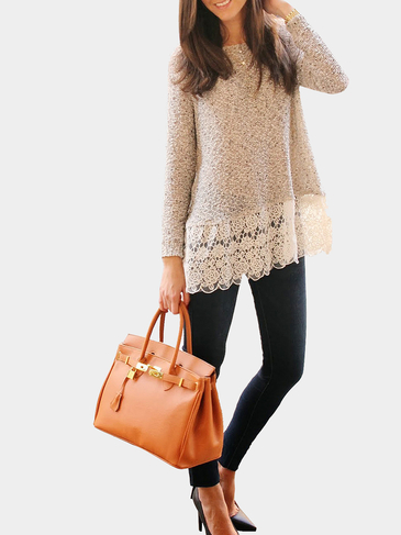 Long SleevedTop with Lace Hem