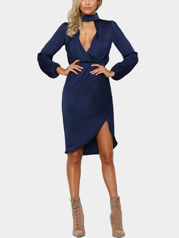 Navy High Neck Long Sleeves Midi Dress with Front Cutout Details