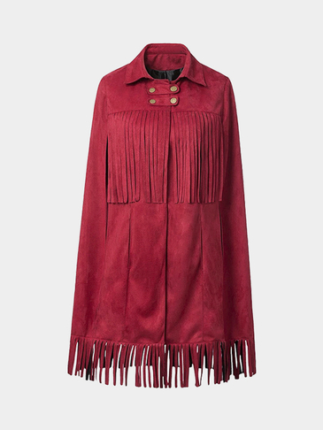 Burgundy Suede Cape with Fringed Detail