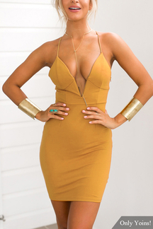 Yellow Plunge V-neck Cross Back Body-con Mini Dress