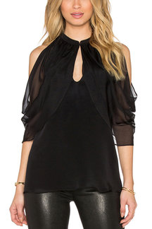 Black Chiffon Cold Shoulder Hollow Out Blouse