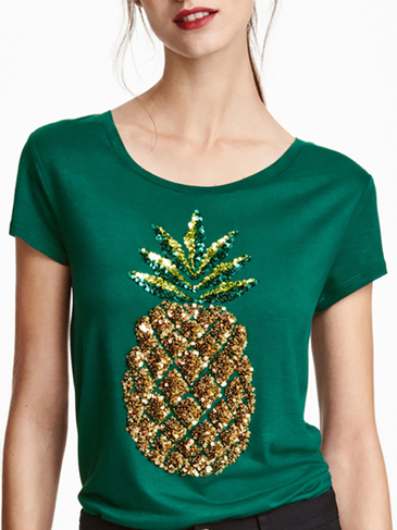 Sequin Pineapple Pattern T-shirt