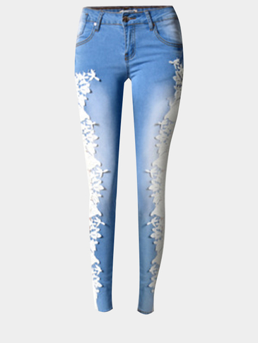 Denim Jeans with Crochet Lace Details