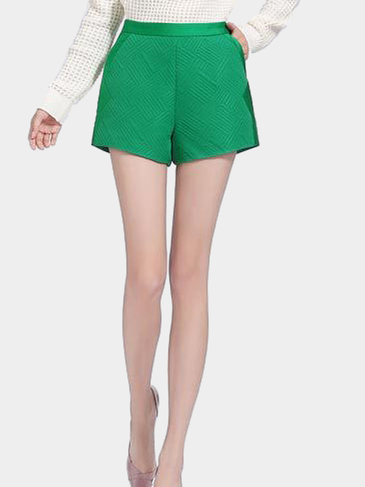 Green High Waist Shorts with Side Pockets