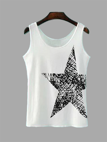 Casual White Round Neck  Sleeveless Star Pattern Vest
