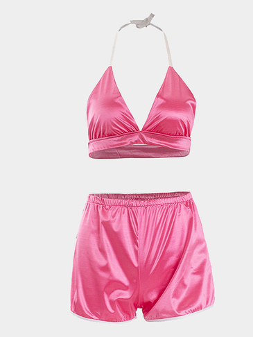 Sexy Self-tie Halter and Elastic Waist Shorts Co-ord