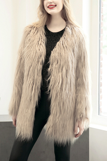 Light Khaki Fashion Long Sleeves Artificial Fur Longline Coat