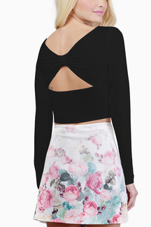 Black Long Sleeve Crop Top with Cut Out Back