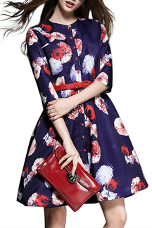Floral Printing Dress with Belt
