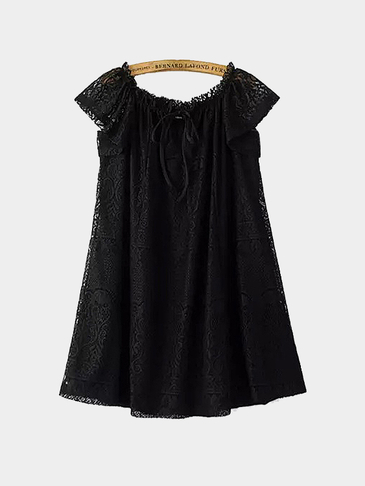 Tie-neck Lace Mini Dress in Black