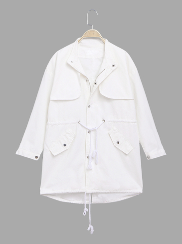 White Loose Fit Trench Coat With Drawstring Waist