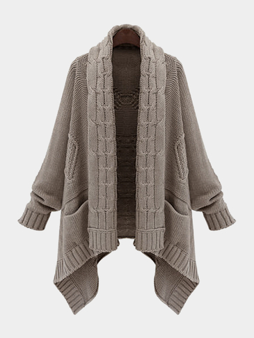 Kahki Wool Fabric Twist Scarf Collar Pocket Design Cardigans