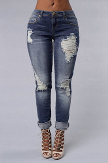 Fashion Skinny Shredded Ripped Jeans