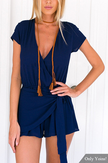 Navy Wrap Front Self-tie Belt Playsuit