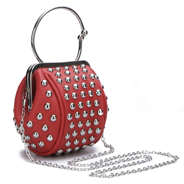 Red Rivet Embellished Mini Handbag