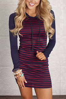 Stripe Body-con Dress With Hood