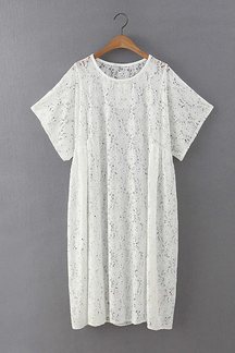 Lace Midi Dress in White