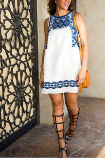 Ethnic Print Sleeveless Mini Dress