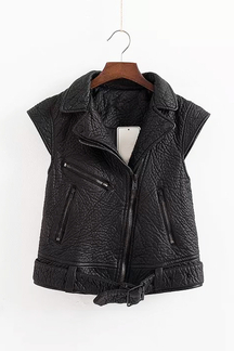 Leather Moto Jacket With Front Zip