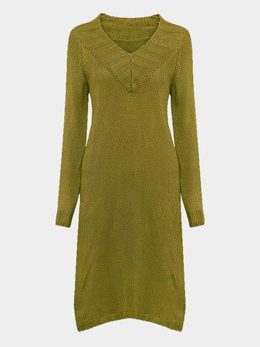 V Neck Sweater Dress in Green