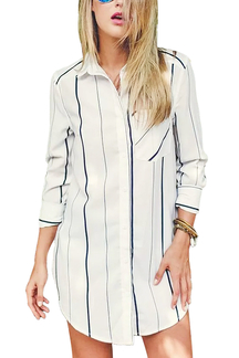 White Stripe Boyfriend Shirt