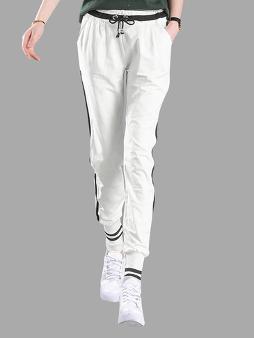 White Jogger With Black Contrast Side