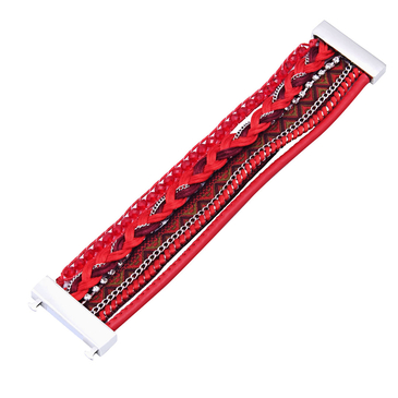 Multilayer Clasp Bracelet in Red