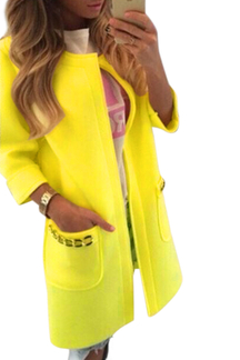 Yellow Fashion Round Neck Long Coat
