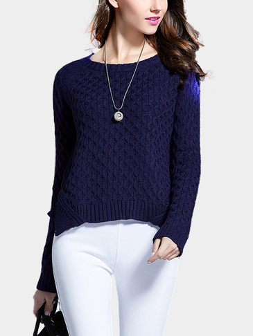 Navy Round Neck Long Sleeves Irregular Hem Jumper