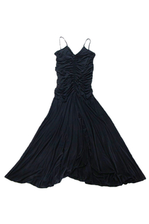 Black Sleeveless Cocktail Pleated Party Dress with Back Straps