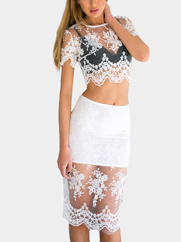 Sexy Lace See-through Cropped Top and Midi Skirt Co-ord